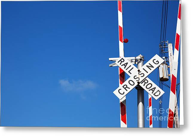 Caution Greeting Cards - Railroad crossing sign Greeting Card by Jane Rix