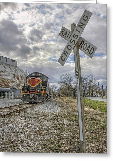 Railyard Greeting Cards - Railroad Crossing with Engine 414 Greeting Card by Jason Politte