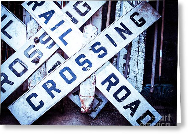 Railroad Crossing Greeting Cards - Railroad Crossings Greeting Card by Sonja Quintero