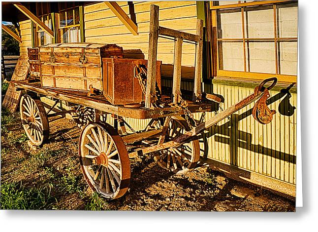 Mancos Greeting Cards - Railroad Luggage Cart Greeting Card by Priscilla Burgers