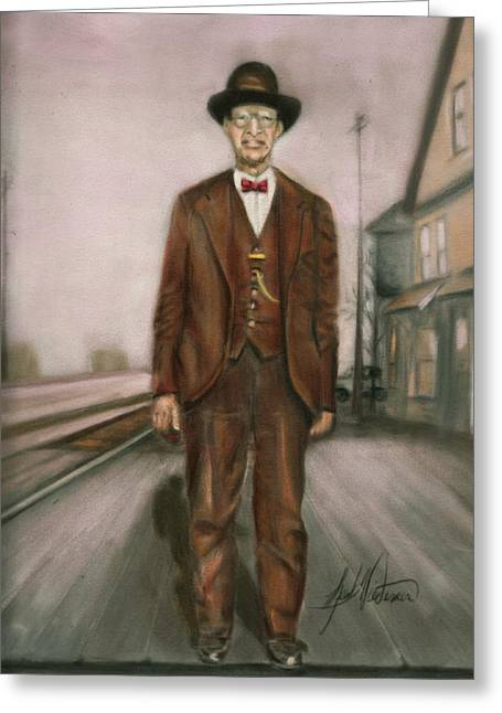 Nostalgia Pastels Greeting Cards - Railroad Man Greeting Card by Leah Wiedemer