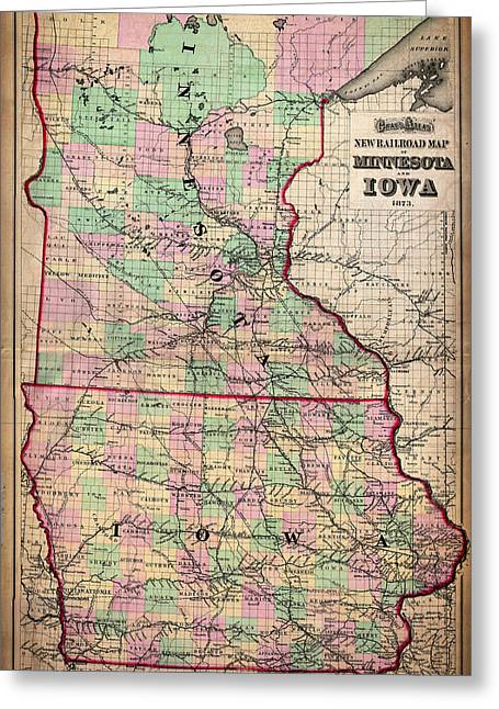 Road Travel Drawings Greeting Cards - Railroad Map of Minnesota and Iowa 1873 Greeting Card by Mountain Dreams