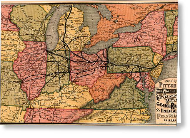 1874 Drawings Greeting Cards - Railroad Map of the Eastern United States 1874 Greeting Card by Mountain Dreams
