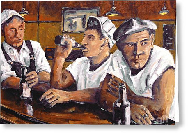 Canadian Rural Scene Created By Richard T Pranke Greeting Cards - Railroad Men at the Bar by Prankearts Greeting Card by Richard T Pranke
