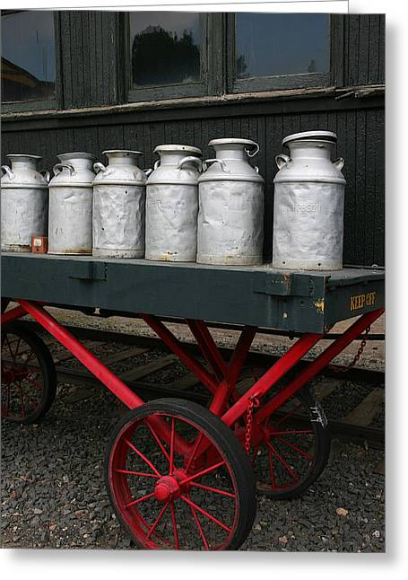 Food Delivery Greeting Cards - Railroad Milk Cans Greeting Card by Art Block Collections