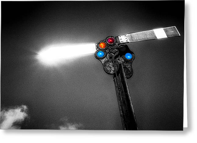 Railroad Signal Greeting Card by Bob Orsillo