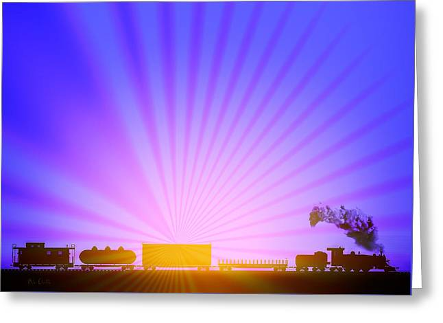 Toy Shop Greeting Cards - Railroad Sunrise Greeting Card by Bob Orsillo