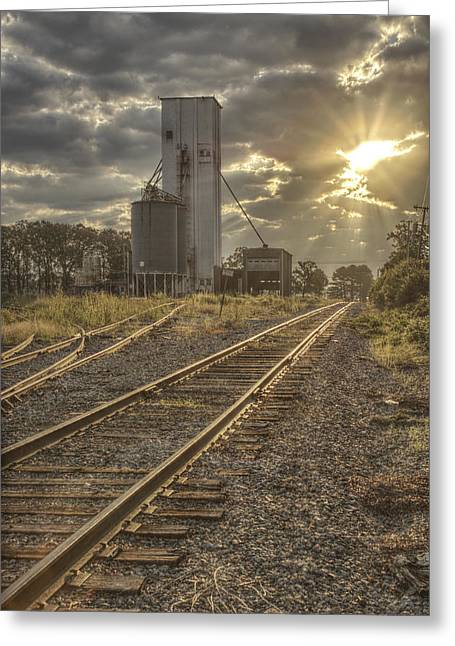 Conway Arkansas Greeting Cards - Railroad Sunrise Greeting Card by Jason Politte
