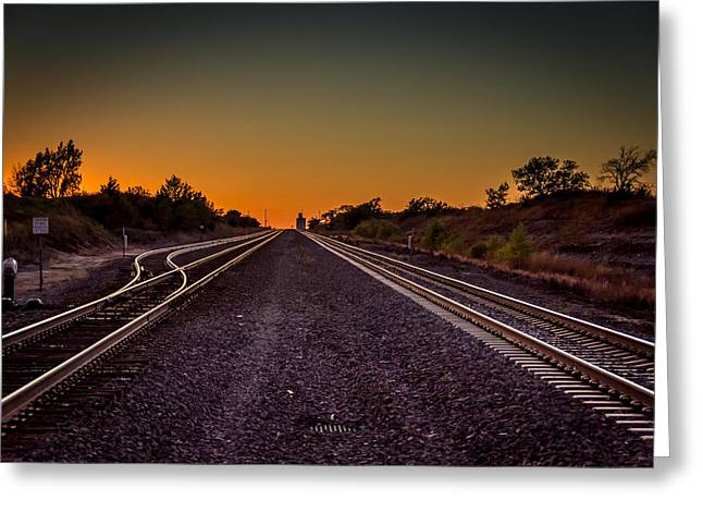Mayfield Greeting Cards - Railroad Sunset Greeting Card by Larry Pacey