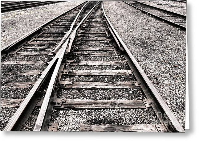 Gravel Greeting Cards - Railroad Switch Greeting Card by Olivier Le Queinec