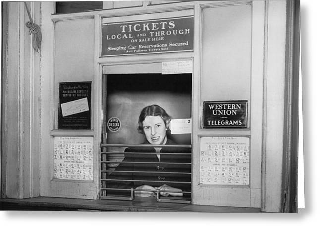 Railroad Ticket Window Greeting Card by Underwood Archives