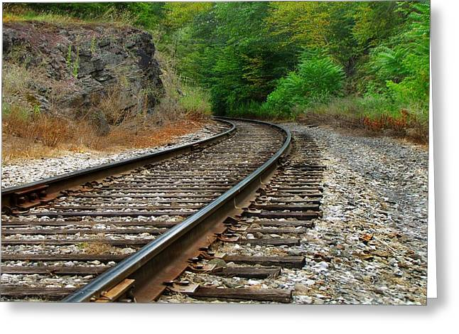 Reading Images Greeting Cards - Railroad Tracks 8851  Greeting Card by David Dehner