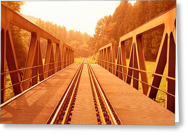 Colorful Photography Greeting Cards - Railroad Tracks And Bridge Germany Greeting Card by Panoramic Images