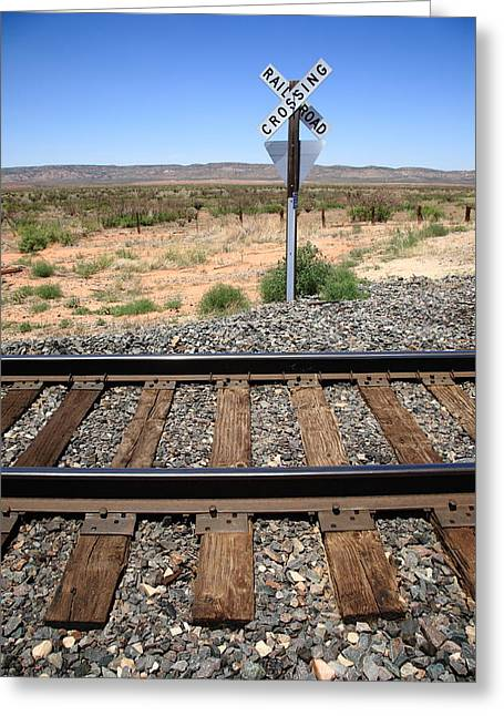 Distance Framed Prints Greeting Cards - Railroad Tracks and Crossing Greeting Card by Frank Romeo