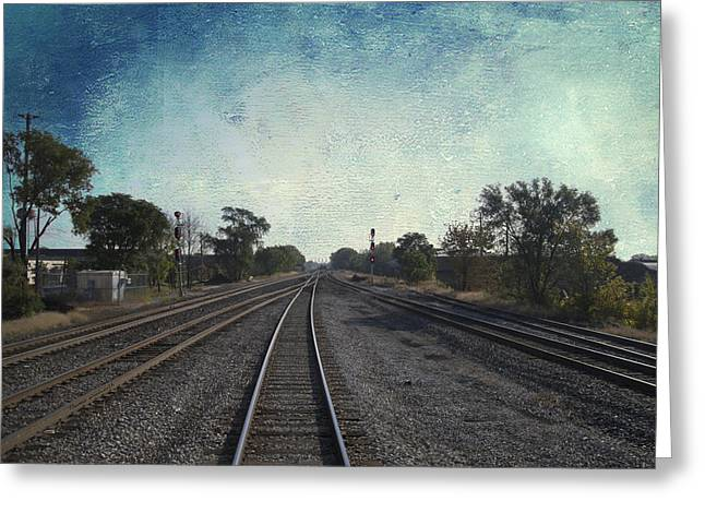 Windy City Mixed Media Greeting Cards - Railroad Tracks Metra South West Service Textured Sky Greeting Card by Thomas Woolworth