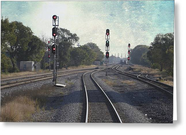 Windy City Mixed Media Greeting Cards - Railroad Tracks Metra South West Service Textured Greeting Card by Thomas Woolworth