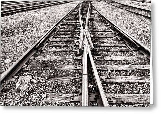 Switches Greeting Cards - Railroad Tracks Greeting Card by Olivier Le Queinec