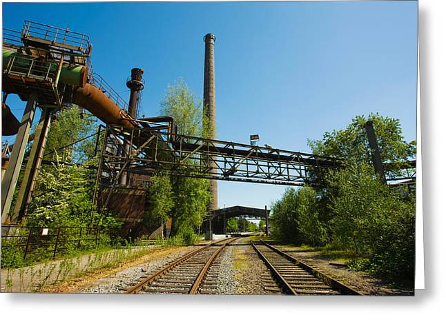 Old Photography Greeting Cards - Railroad Tracks Passing Through An Old Greeting Card by Panoramic Images