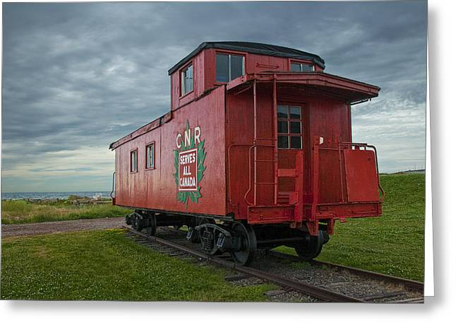 Red Caboose Greeting Cards - Railroad Train Red Caboose on Prince Edward Island Greeting Card by Randall Nyhof