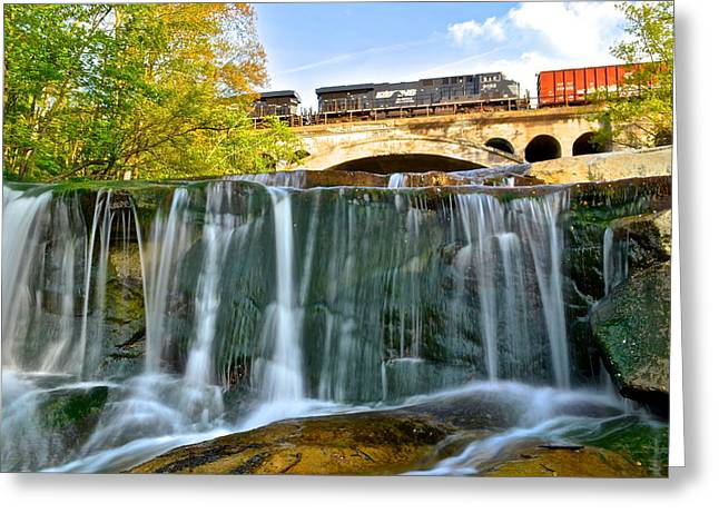 Railroad Waterfall Greeting Card by Frozen in Time Fine Art Photography