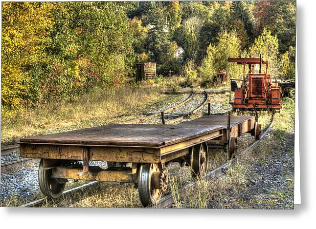 Fall Scenes Greeting Cards - Railroad work Greeting Card by John Sandiford