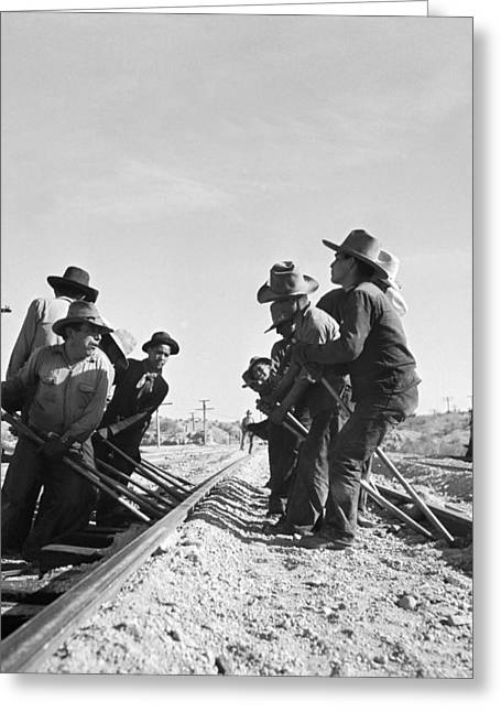 Railroad Workers Greeting Card by Jack Delano