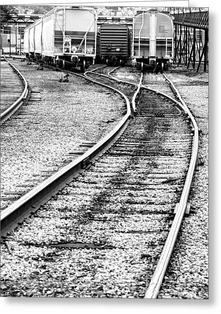 Train Yard Greeting Cards - Railroad Yard Greeting Card by Olivier Le Queinec