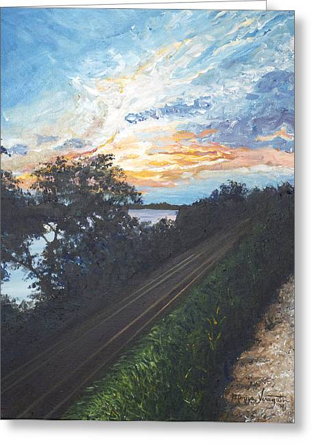 Rails Along The River Greeting Card by Monica Veraguth