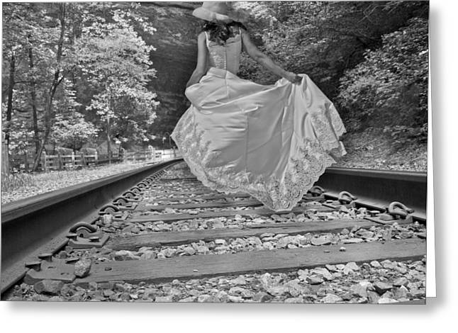 Gravel Road Greeting Cards - Rails Greeting Card by Betsy A  Cutler