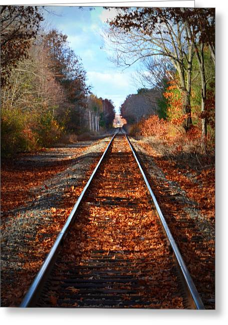 One Point Perspective Greeting Cards - Rails Greeting Card by Tricia Marchlik