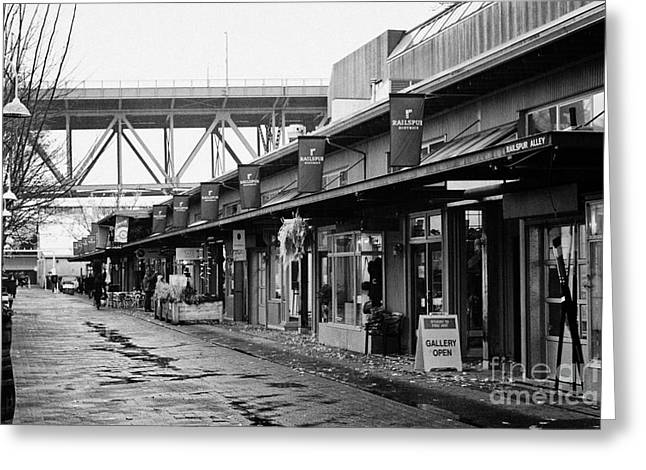 North Vancouver Greeting Cards - railspur alley home to various artisan and artists shops stores and galleries Vancouver BC Canada Greeting Card by Joe Fox