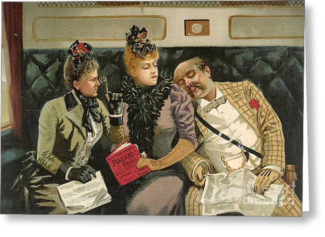 Social Situations Greeting Cards - Railway Advert Travel Humour, 1890s Greeting Card by British Library