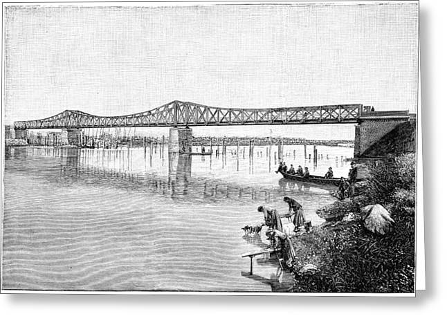 Asti Greeting Cards - Railway bridge over the Tanaro, 1893 Greeting Card by Science Photo Library