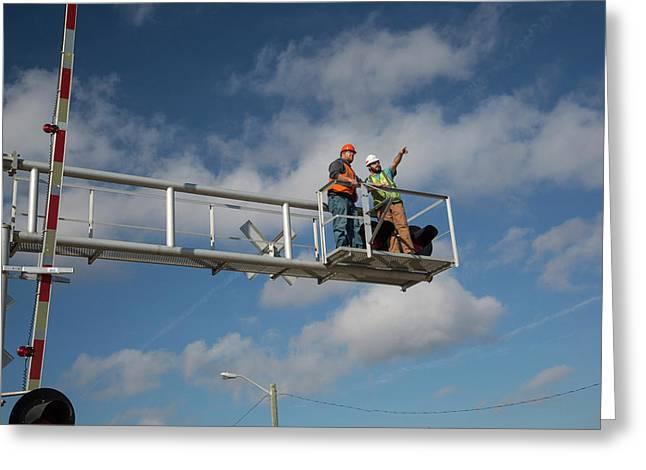 Railway Crossing Maintenance Greeting Card by Jim West