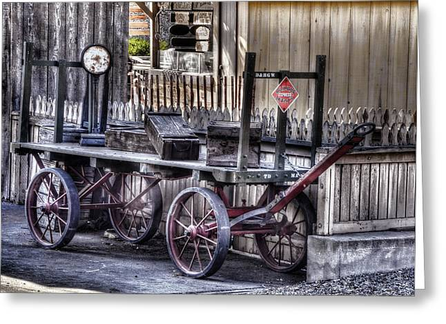 Express Greeting Cards - Railway Express Agency Baggage Cart Greeting Card by Ken Smith
