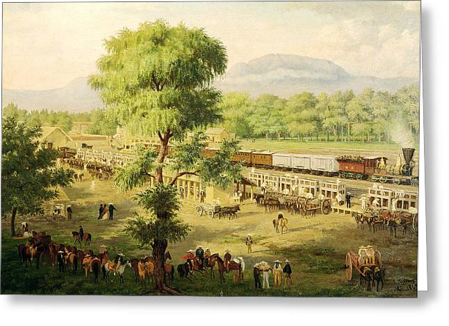 Horse And Cart Photographs Greeting Cards - Railway In The Valley Of Mexico, 1869 Oil On Canvas Greeting Card by Luiz Coto