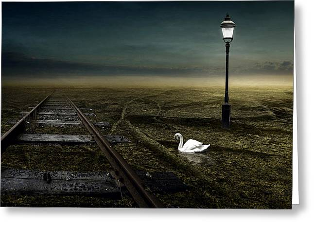 Streetlight Greeting Cards - Railway Greeting Card by Johan Lilja