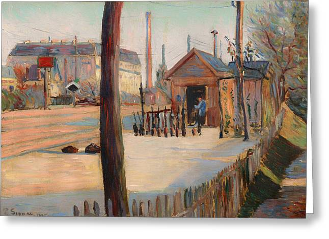Shed Paintings Greeting Cards - Railway Junction near Bois-Columbes Greeting Card by Paul Signac