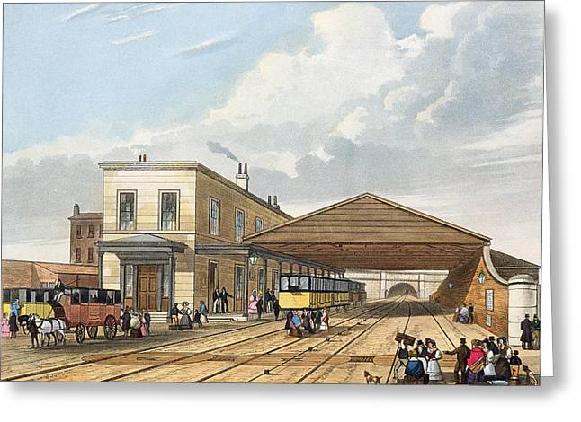 Train Stations Greeting Cards - Railway Office, Liverpool, Plate 8 Greeting Card by Thomas Talbot Bury