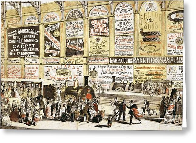Sociology Greeting Cards - Railway Station Advertising, 1870s Greeting Card by British Library
