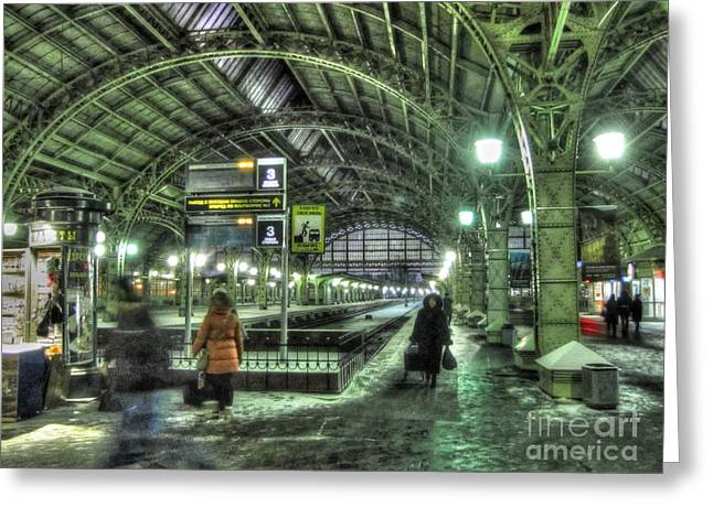 People Pyrography Greeting Cards - railway station in St. Petersburg in winter Greeting Card by Yury Bashkin