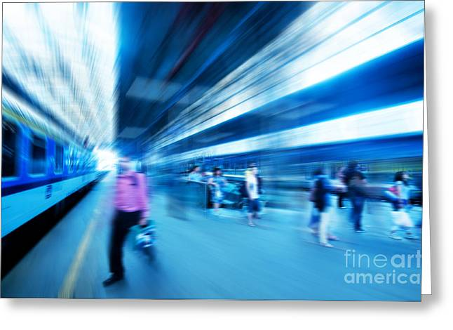 Businesspeople Greeting Cards - Railway station Greeting Card by Michal Bednarek