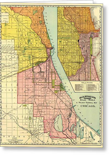 Road Travel Drawings Greeting Cards - Railway Terminal Map of Chicago 1897 Greeting Card by Mountain Dreams