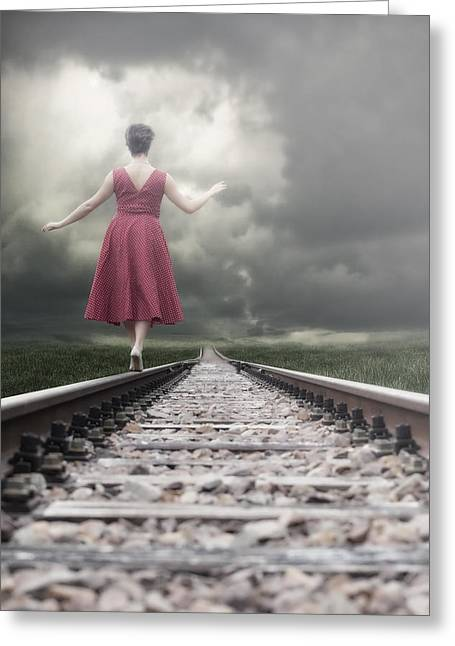 Railway Tracks Greeting Card by Joana Kruse