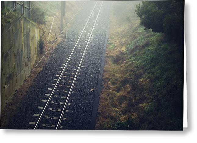 Railway Greeting Cards - Railway tracks Greeting Card by Les Cunliffe