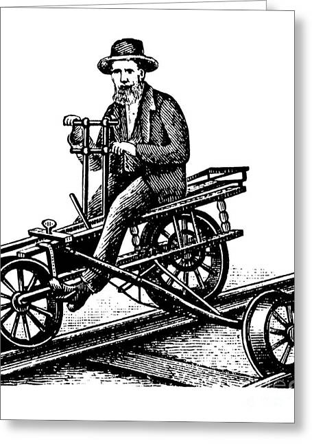Cycling Artwork Greeting Cards - Railway Velocipede, 1880s Greeting Card by Bildagentur-online