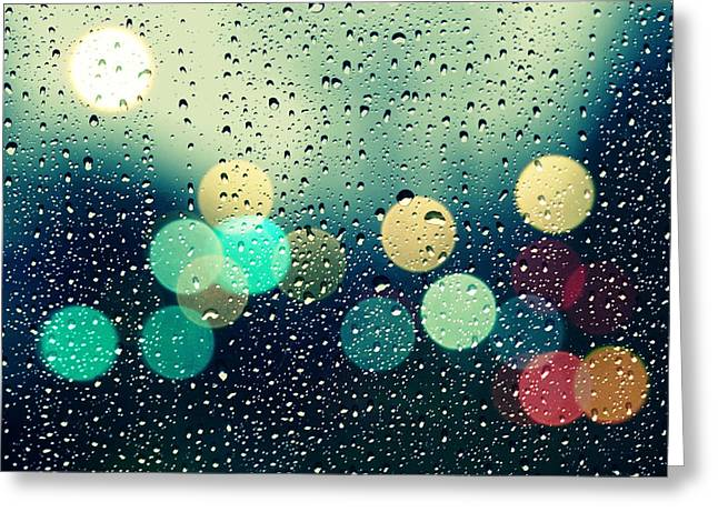 Abstract Rain Greeting Cards - Rain and the city Greeting Card by Beata  Czyzowska Young