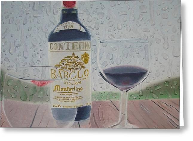 Wine Scene Greeting Cards - Rain and Wine Greeting Card by Angela Melendez