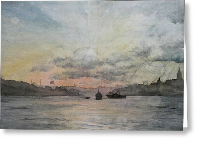 Sun Rays Paintings Greeting Cards - Rain Approaching the Golden Horn Greeting Card by Rebecca Davis
