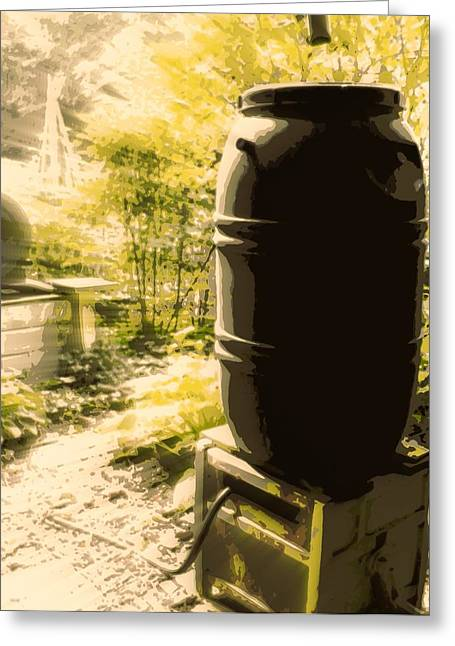 Rain Barrel Greeting Card by Tg Devore